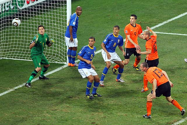 Wesley Sneijder (10) reacted beautifully to a corner kick that was re-directed by Dirk Kuyt and sent the ball into the back of the net for the game winning goal.