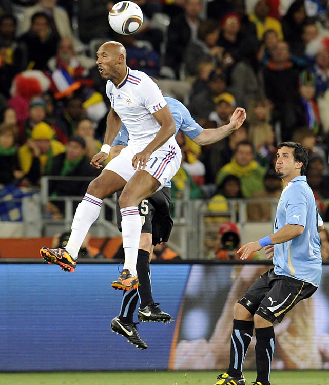 Anelka (left) had yearned for years to be France's go-to-guy at striker. However a disappointing World Cup (he had zero shots on target) ended in disgrace after he was sent home early for cursing at the coach.