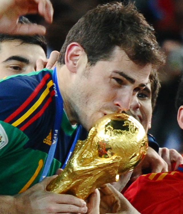 Spain keeper Iker Casillas didn't give up a goal in the knockout rounds. The captain earned the Golden Glove award as the best goalkeeper in the tournament, his third career World Cup.