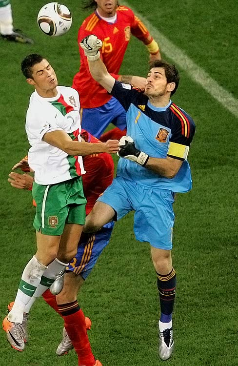 "The Spanish captain, Casillas had a shaky start to the tournament which was unusual for the usually sure-handed goalkeeper. Nicknamed ""Saint Iker"", Casillas has long been regarded as arguably the world's best goalkeeper"