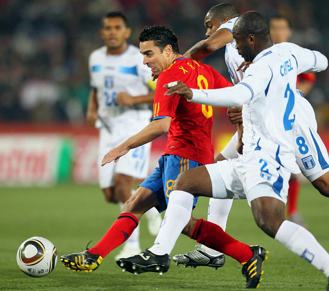 Spanish playmaker Xavi is regarded as the finest passer in the world and the key to Spain's possession style in midfield.