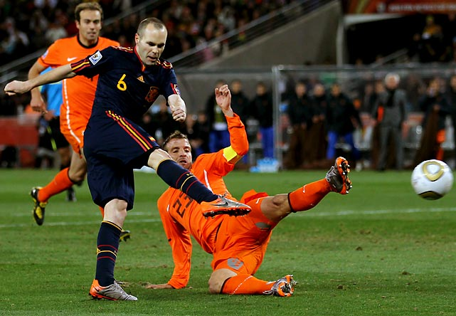 Midfielder Andres Iniesta scored with four minutes of extra time remaining to give Spain a 1-0 win over the Netherlands and its first World Cup title.