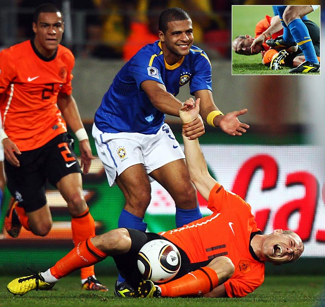 Five-time world champion and top-ranked Brazil surprisingly crumbled in the quarterfinals against the Netherlands. After controlling the first 45 minutes and taking a 1-0 lead into halftime, Brazil conceded goals in the 53rd and 68th minutes (the first an own goal by Felipe Melo) and had Melo sent off for stomping on Arjen Robben's leg in the 73rd minute. Two days after the loss, Brazil coach Dunga was fired.