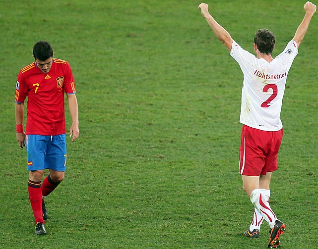 Switzerland pulled off an early stunner when it toppled the European champion and pre-tournament favorite 1-0, handing the Spanish their second loss in 50 games. Spain, however, rebounded to beat Honduras and Chile to win Group H.