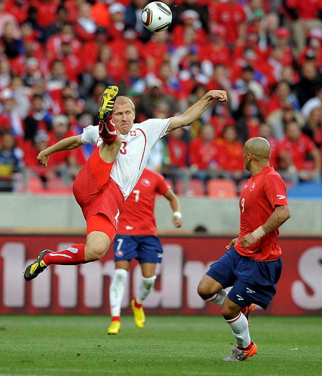 Switzerland set a tournament record by not conceding a goal for 559 consecutive minutes, a stretch that dated to its opener at the 2006 World Cup. The streak ended when Chile scored against Switzerland, the only goal the Swiss allowed in group play. Switzerland finished with three points and failed to advance.