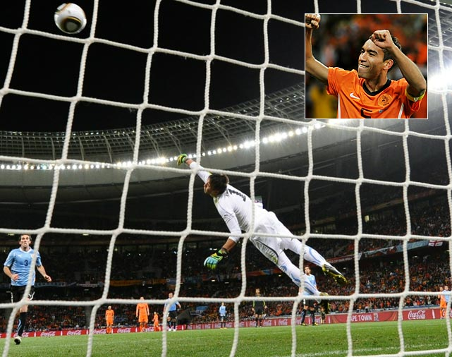 Uruguay goalkeeper Fernando Muslera couldn't stop a brilliant shot from the Netherlands' Giovanni van Bronckhorst. The defensive midfielder spun the ball into net from about 35 yards out to give the Dutch a 1-0 lead in the 18th minute.