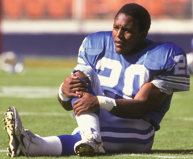 Barry Sanders stretches before a game against the Redskins. Sanders, who would end up finishing second in the league to Emmitt Smith in total rushing yards (1,500), ran for just 76 yards in this contest.