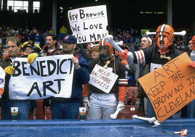 Perhaps the most jarring event of the 1995 season was the news that Browns owner Art Modell was moving the franchise to Baltimore. The news didn't make Modell very popular in Cleveland.
