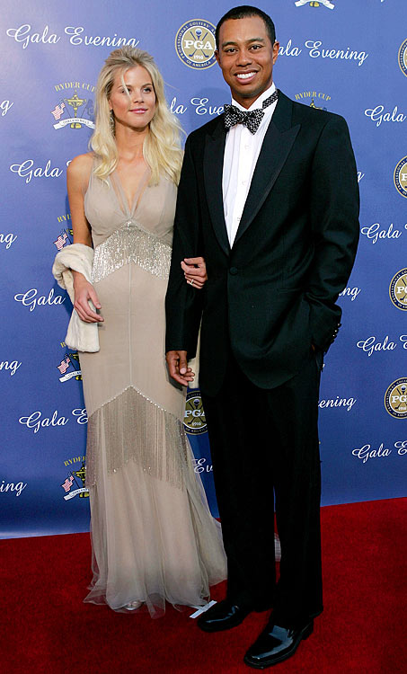 Elin and Tiger pause for a photo opportunity at the 35th Ryder Cup Matches Gala dinner in September 2004.