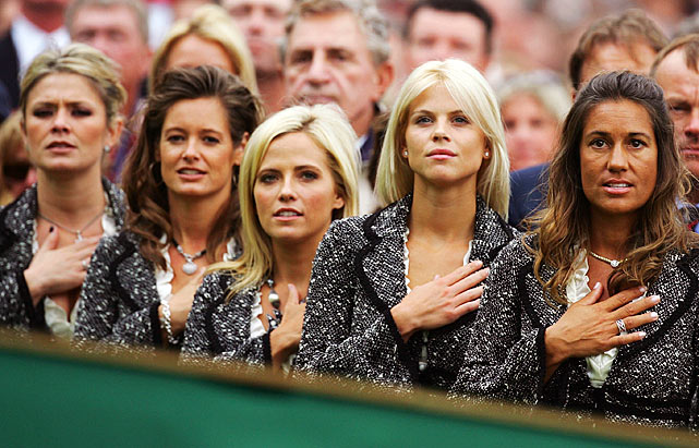 Elin stands with fellow golf wives (left to right) Amy Campbell, Tabitha Furyk, Amy Mickelson and Melissa Lehman at the opening ceremony of the 2006 Ryder Cup.