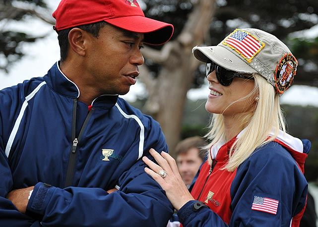 Elin provides moral support for Tiger as he contemplates his next shot at the Presidents Cup in October 2009.