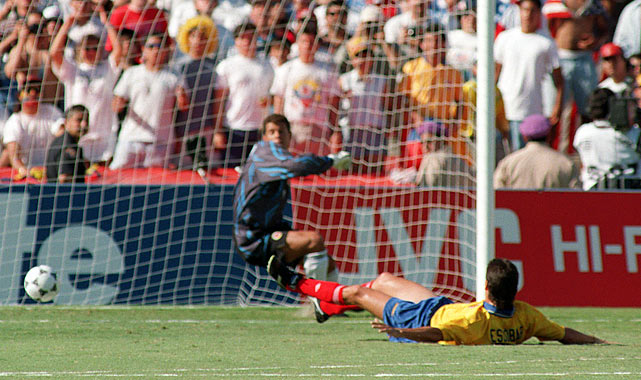 Arguably the costliest foot fault of all time, Andres Escobar's own goal in the 1994 World Cup cost the heavily favored Colombia a shot at the Cup and cost Escobar his  life. Extending to cut off a cross from a U.S. midfielder, Escobar inadvertently redirected the ball into his own goal.  He was murdered in his native Colombia 10 days later.