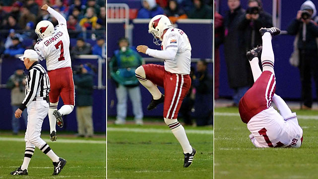 The poster child for celebratory injuries, Bill Grammatica was so elated with his 42-yard field goal in the first half of a game on Dec. 15, 2001, that he literally jumped for joy.  When he landed, the Argentine tore his ACL.  While Grammatica was subsequently unable to handle the kickoff, it's worth noting that he kicked a 23-yard field goal and an extra point later in the game.