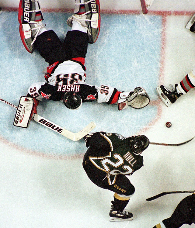 Considered the most controversial goal in Stanley Cup history, Brett Hull stole the Cup for the Dallas Stars in 1999 when he scored with his skate clearly in the crease, which at the time was illegal.  The goal, which came in the third OT of Game 6, drew the rage of Buffalo fans who to this day don't believe the goal should have counted.  Shortly after the season, the NHL removed the skate-in-crease infraction from the rulebook.
