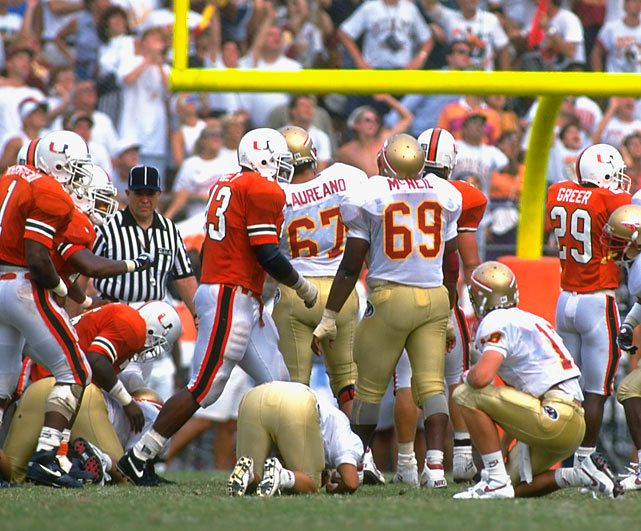 Florida State's field goal curse, during which FSU lost five games in 12 years to Miami due to a late missed field that would have won or tied the game, is underrated as curses go.  It began in 1991 when kicker Gerry Thomas hooked a game-winning field goal wide right, ending the top-ranked Seminoles title hopes.  A year later (pictured), kicker Dan Mowrey, faced with a similar game-winning kick, also missed wide right.