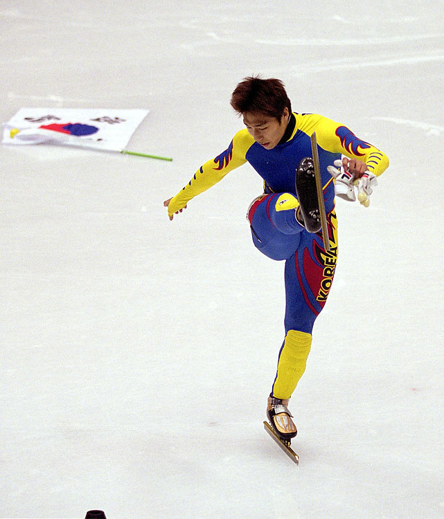 "In 2002, Kim Dong-sung was convinced he had won his second Olympic gold medal in speed skating. But as Kim was skating a victory lap, with a South Korean flag draped around his shoulders, he was told he was disqualified for ""cross-tracking"" or improperly crossing the course to interfere with another skater. Said skater, Apolo Ohno, was awarded the gold while Kim was left to stew on his costly impediment."