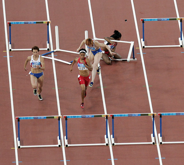 Leading up to Athens in 2004, Perdita Felicien was Canada's best hope for a gold medal.  Overwhelmingly favored in the 100-meter hurdles, Felicien burst out of the starting blocks.  When she reached the first hurdle however, she hooked her leg on the barrier and crashed to the ground, bringing Russian Irina Shevchenko down with her. Felicien re-emerged on the scene in 2010, when she publicly backed beleaguered Canadian doctor Anthony Galea.