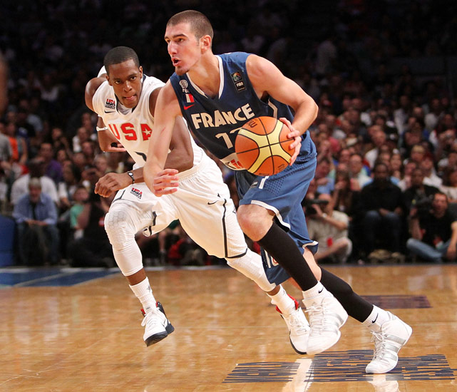 An array of French stars are sitting out the 2010 World Championship -- Tony Parker and Joakim Noah to name a few -- but the team is still loaded with young up-and-comers, including 6-foot-6 combo guard Nando De Colo. He struggled in France's pre-worlds exhibition game against the U.S. but has shown loads of potential in recent years, which led the San Antonio Spurs to select him in the 2009 draft.