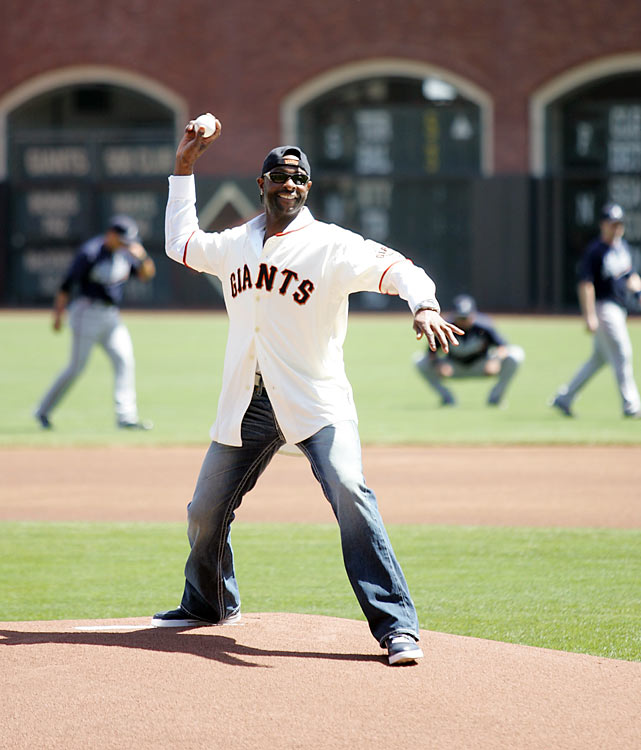 Rice gave the Giants some good luck when he threw out the first pitch in a home opener against the Braves. Aaron Rowand's infield single in the 13th inning gave San Francisco a walk-off win.