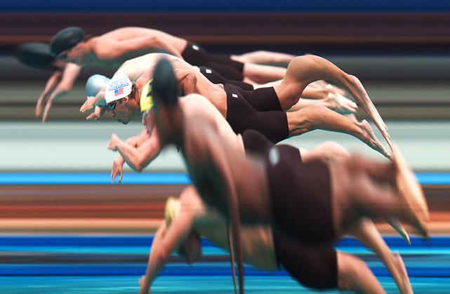 A strip camera view of Michael Phelps (white cap) at the start of the 100 meter butterfly final on Aug. 5 in Irvine, Calif. Phelps won the event.