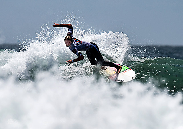 Brett Simpson during the finals of the U.S. Open of Surfing on Aug. 8 in Huntington Beach, Calif. The defending champion and Huntington Beach local won the event.