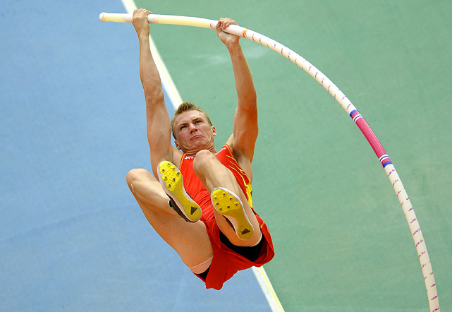 Spain's Igor Bychkov competes at the European Athletics Championships at the Olympic Stadium in Barcelona on July 29.