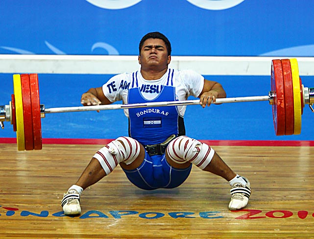 Cristopher Pavon of Honduras competes in the 85kg weightlifting at the Youth Olympics on Aug. 18 in Singapore.