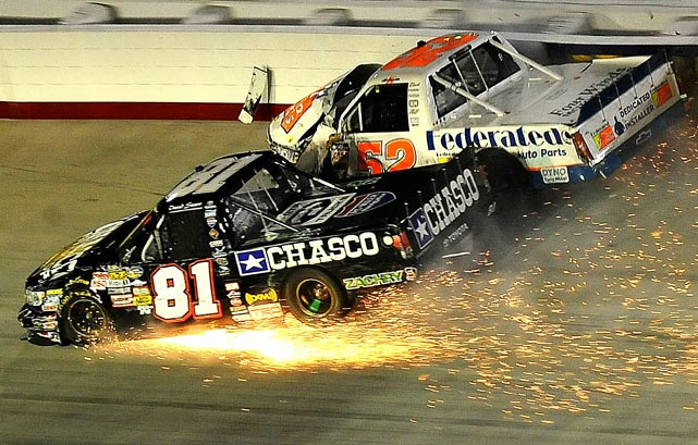 Ken Schrader, driver of the #52 Federated Autoparts Chevrolet, crashes into David Starr, driver of the #81 Chasco Construction Toyota, during the NASCAR Camping World Truck Series O'Reilly 200 at Bristol, Tenn., on Aug. 18.