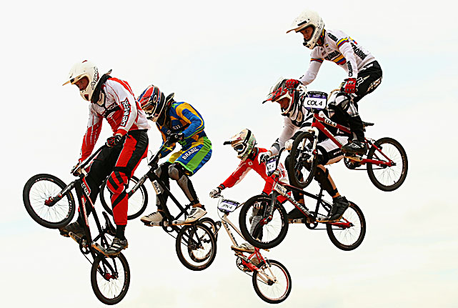 Niklas Laustsen of Denmark leads the field in his quarterfinal of the Junior Men's BMX at the Youth Olympics.
