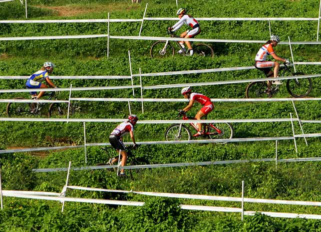 Cyclists make their way down a hill in the junior women's cross country event on Aug. 17 at the Singapore 2010 Youth Olympic Games. Karolina Kalasova of the Czech Republic won the gold medal with a time of 46 minutes and 58 seconds.