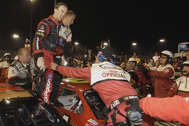 After sending Kevin Harvick into the wall during the Chevy Rock & Roll 400 in 2003, Ricky Rudd was confronted by Harvick and the two began to argue. The yelling soon escalated as Harvick allegedly threw his HANS device at Rudd and jackman Mike Scearce jumped on the hood of Rudd's car.