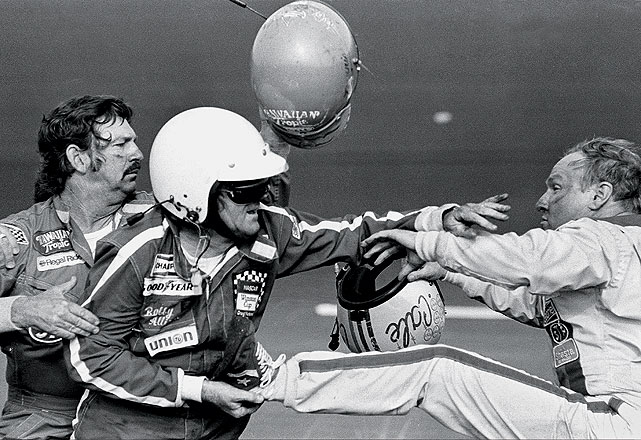 The 1979 Daytona 500 played host to one of NASCAR's most memorable brawls as Cale Yarborough and Bobby and Donnie Allison tangled in the sport's first 500-mile race to be televised live in its entirety.