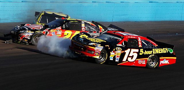 A season's worth of tension and conflict came to a head in Phoenix in November 2012 when Bowyer (15) and Gordon collided with seven laps to go. Gordon hit the wall but he had enough time to recover and retaliate by wrecking Bowyer three laps later, eliminating him from Cup contention. Gordon was jumped by Bowyer's crew behind pit road after he climbed out of his car. A wild brawl ensued that police and NASCAR officials had to break up. Both drivers were called on the carpet as guards stood watch outside. Gordon was fined $100,000 and docked 25 points. Bowyer's crew chief, Brian Pattie, found that his wallet was $25,000 lighter and he was placed on six weeks' probation. You can watch this stark human drama unfold   HERE