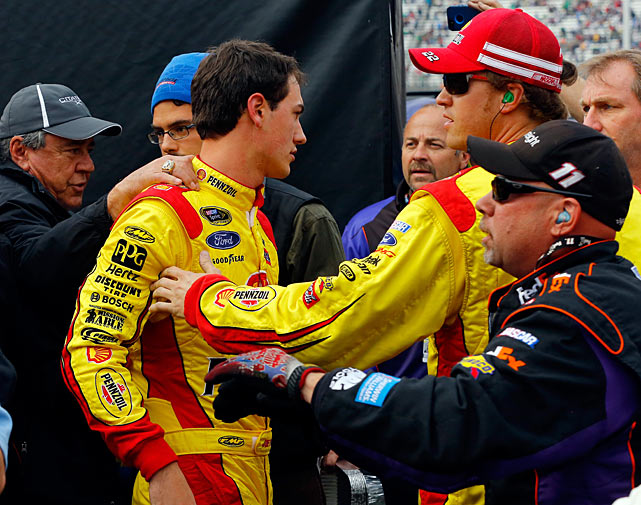 "After some contact during the 2013 Food City 500 at Bristol, Logano paid a visit to former Joe Gibbs Racing teammate Hamlin on pit road and had to be restrained by JGR crew members. Logano's Penske crew soon joined the fray, which later continued on Twitter: ""Hey @dennyhamlin great job protecting that genius brain of yours by keeping your helmet on,"" Logano tweeted. Hamlin's response: ""Why's that ... what would u do?""  ""Show you some love and appreciation,"" Logano replied.  ""Need my address?"" Hamlin asked. ""Last time I checked he had my cell and direct message button to choose from if he's got a problem ... Otherwise hush little child""  The two drivers renewed their battle a week later in the Auto Club 400, making contact and wrecking on the final lap. Hamlin ended up in the hospital."