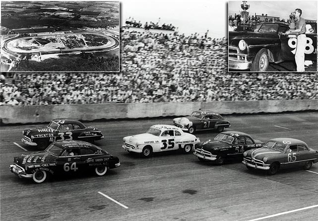 "Initially known as ""Harold's folly,"" the Darlington, S.C., project by businessman Harold Brasington was constructed on a 1.33-mile paved, egg-shaped oval in the small town during the Fall of 1949. Hoping to become stock car's home for 500-mile racing, the oval-shaped track -- built that way to maintain a minnow pond next door -- was granted a date from NASCAR a year later. Over 25,000 fans witnessed the first Labor Day Weekend edition of the Southern 500, a 75-car field bested by Johnny Mantz that started a tradition that lasted well over 50 years. Darlington remains part of the NASCAR schedule today, although its main event is contested on Mother's Day Weekend instead of in September."