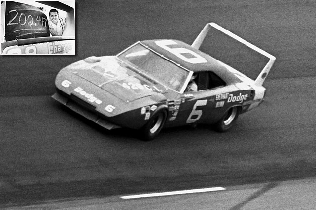 With the opening of Talladega Superspeedway in 1969, whether stock cars could break the vaunted 200 mile an hour barrier suddenly became a matter of if and not when. Buddy Baker finally accomplished the feat through the help of Chrysler Engineering, his No. 88 car posting an average of 200.447 miles an hour in a closed-course testing lap on March 24, 1970. Known as the King of Superspeedways, he'd go on to score four of his 19 career wins at Talladega while concerns over speed gradually increased through the years -- today, restrictor plates make achieving that 200 mile average a virtual impossibility.