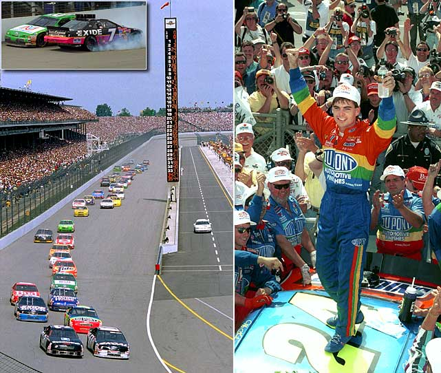After 83 years of hosting just one race a year, the Indy 500, the open-wheel mecca of Indianapolis opened its doors to NASCAR with a 400-mile race. A modern-day NASCAR record 86 cars attempted to make the 43-car field, the start to a two-week drama that included brothers Brett and Geoff Bodine spinning each other out during the race. When the smoke cleared, the checkers fell to hometown Indiana boy Jeff Gordon, scoring his second career Cup victory once Ernie Irvan blew a tire with fewer than five laps remaining. Within two years, open-wheel racing split in two and, just like that, NASCAR was suddenly the biggest game in town.