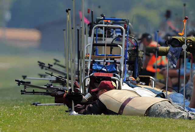 While shooters rarely move once in prone position, their stillness belies the complex procedure that every shot requires.  Competitors must calculate the wind, using a combination of downwind flags and estimation, and then develop a strategy that includes knowing the optimal time to fire as well as when to draft off their competitors' shots.