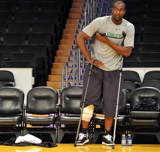 The Celtics' powerful and defensive-oriented center went down in Game 6 of the 2010 Finals with a torn MCL and PCL in his right knee. After sitting through Boston's Game 7 title loss to the Lakers, Perkins underwent surgery and isn't expected back until February. Doc Rivers' solution: Sign Jermaine O'Neal and Shaq in the offseason.
