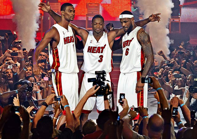 "There were rumors of the biggest free agents on the market -- LeBron James, Dwyane Wade and Chris Bosh -- potentially playing together (whether it was in Miami, Chicago or Cleveland), but few thought they would actually agree to less money to team up. Why? It's never been done before. But when Chris Bosh announced he would join Wade in Miami, and LeBron made ""The Decision"" to ""take his talents to South Beach,"" the Heat instantly became the most talented, and hated team, in the league."