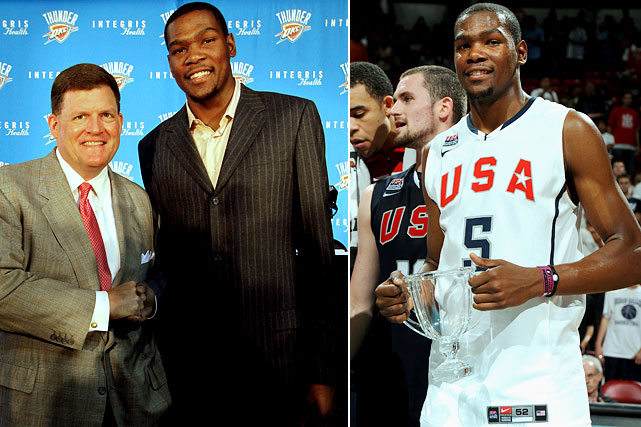 While LeBron needed an hour on primetime television to announce his decision, Kevin Durant needed only 140 characters to reveal his. The league's youngest scoring champ quietly told the world on Twitter that he agreed to a five-year, $86 million extension with the Thunder. Weeks later, Durant became the face of Team USA as it prepared for the FIBA World Championship in Turkey.