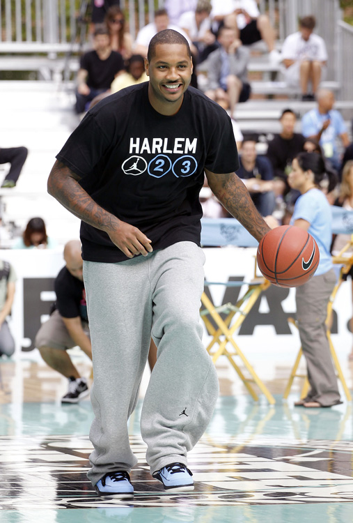 Then he joined a handful of NBA stars in Harlem's Rucker Park for a Jordan Brand children's clinic.