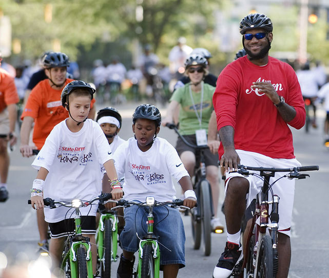 "LeBron took his bike-riding talents back to Ohio for his annual ""King for Kids"" Bike-a-thon in Akron."