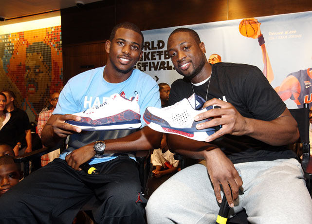 Wade later traveled to New York City, where he and Hornets star Chris Paul promoted their new Jordan Brand kicks.