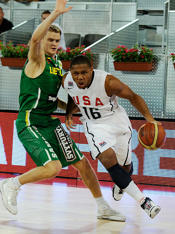 "Though he was on the bubble for making the squad, Gordon's benefits to Team USA are clear: crisp outside shooting and tough D. Said Krzyzewski: ""He's really had a terrific practice every single day, and every day he's produced, he's just been steady. And he's a guy that doesn't need the ball long. On our Olympic team, Carmelo Anthony didn't need the ball long, and that helps."""