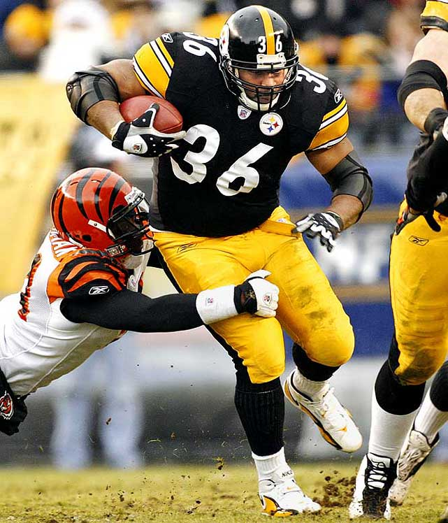 The Bus, at 5-11 and 255 pounds, powered his way to 13,662 rushing yards over 13 seasons with the Rams and Steelers.  Runner-up: Brian Westbrook  Worthy of consideration: Merton Hanks, Lawyer Milloy, Marion Motley, Ken Reaves