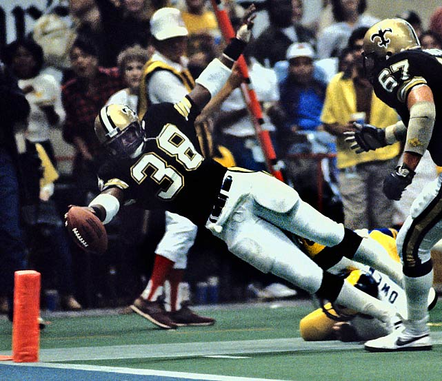Over a seven-year career with the Redskins and Saints, Rogers rushed for 7,176 yards with 54 touchdowns. He led the league as a rookie in 1981 with 1,647 yards and was selected as the league's Rookie of the Year .     Runner-up: Arnie Herber  Worthy of consideration: Mike Anderson, Kimble Anders