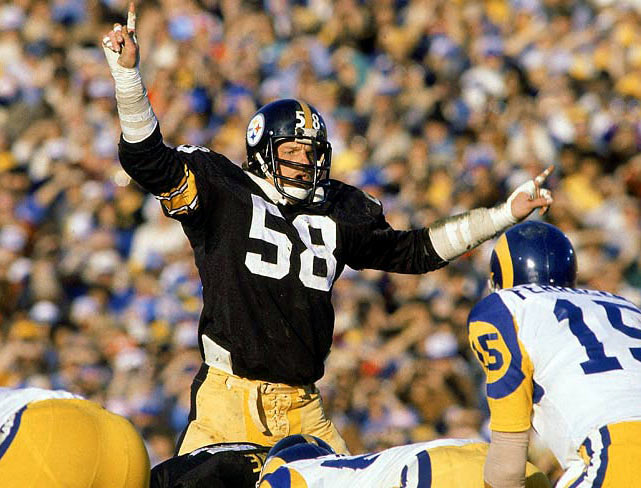 A vicious tackler and two-time Defensive Player of the Year for the Steelers, Lambert played in nine straight Pro Bowls (1976-84).  Runner-up: Derrick Thomas  Worthy of consideration: Carl Banks, Kim Bokamper, Peter Boulware, Wilber Marshall, Jesse Tuggle, Keena Turner