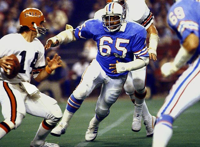 Bethea heads a number that's light on stars. An eight-time Pro Bowl selection at defensive end for the Oilers, he recorded (unofficially) 105 career sacks.  Runner-up: Gary Zimmerman  Worthy of consideration: Dave Butz, Joe Fields, Max Montoya, Bart Oates