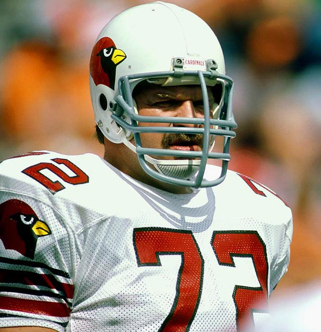 The Hall of Fame right tackle anchored the Cardinals line over his 13 years with the club. He played in six Pro Bowls and following his retirement, he became an announcer with ABC and CBS Sports.  Runner-up: Ed (Too Tall) Jones  Worthy of consideration: Earl Dotson, Brad Hopkins, Dexter Manley, Joe Nash